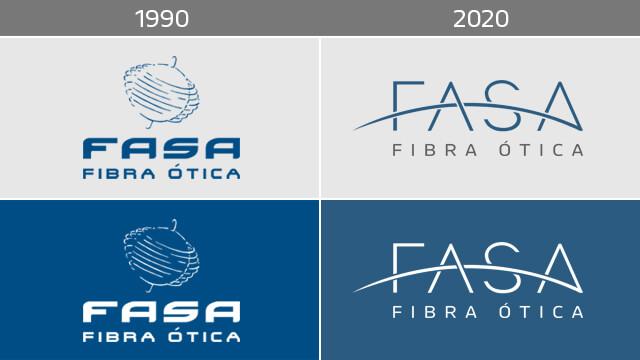 imagem com versões do logotipo FASA Fibra Ótica